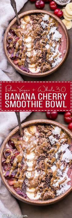 This Banana Cherry Smoothie Bowl is a healthy and delicious breakfast treat! It& Smoothie Detox, Cherry Smoothie, Vegan Smoothies, Smoothie Bowls Vegan, Smoothie Drinks, Smoothie Packs, Fruit Smoothies, Smoothie Recipes, Breakfast Bowls