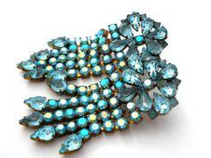 Runway Blue Topaz Rhinestone Earrings Pierced Long Dangle Drop Fringe Vintage in Jewelry & Watches, Vintage & Antique Jewelry, Costume, Retro, Vintage 1930s-1980s, Earrings | eBay