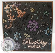 6 x 6 card made using Crafter's Companion Foil Transfers – Delicate Details, Rose Gold Foil, withSpectrum Noir Colorista Dark – Exquisite Florals Pencil Pad, with Spectrum Noir Metallic Pencils – Violet, Purple, Yellow, Gold, Rose Gold, Mica, Blue, Light Blue & Green. Designed by Marie Jones #crafterscompanion #spectrumnoir #spectrumnoircolorista