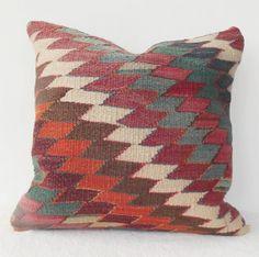 Decorative Turkish Kilim Pillow Cover Green Cream by Sheepsroad, $68.00