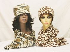 Winter Hat and Scarf Sets, Animal Print Hats, Animal Print Scarves, Tiger Print Hats, Zebra Print Hats, J'NING Accessories, by JNINGfashion on Etsy
