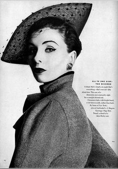 1952 Model is wearing a bicorne of Cinnamon baku with voilette by Irene of New York and tweed suit by Jane Derby, photo by Horst, Vogue