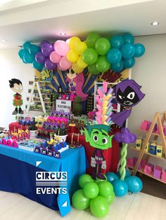 Circus Events 's Birthday / Teen titans go - Photo Gallery at Catch My Party Monster Birthday Parties, Birthday Party Tables, Birthday Party Decorations, Aries Birthday, Boy Birthday, Diy Party Hats, Teen Titans Go, Superhero Party, Birthdays