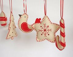 Red and White felt Christmas Ornaments....<3  ***photo***