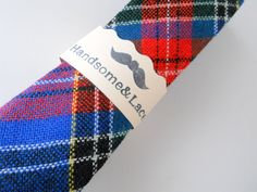 Red and Blue Tartan Plaid Wool Neck Tie