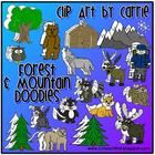 Forest and Mountain Doodles: Included are these BW and full-color PNG images:  2 pine trees, big round tree, grizzly bear, wolf, log cabin, mountain range, hiker boy, fox, racc...