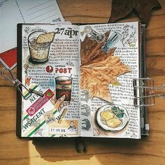 Art Journal pages, inspiration and ideas for keeping an art journal or a midori travel journal, notebook, or scrapbook Art Journal Pages, Album Journal, Sketch Journal, Bullet Journal Art, Scrapbook Journal, Travel Scrapbook, Bullet Journal Inspiration, Art Journals, Journal Ideas