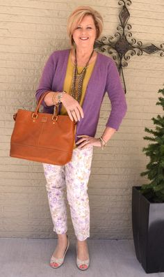 50 IS NOT OLD | PURPLE AND MUSTARD   Love these floral pants with the mustard and purple.  Wish I could find the pants!