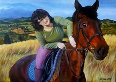Double portrait of a friend and her beloved horse. Oil painting on canvas 50x70