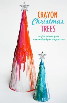 The Swell Life: Crayon Drip Paper Mache Christmas Trees Christmas Tree Hair, Diy Paper Christmas Tree, Paper Christmas Decorations, Christmas Crafts For Kids, Winter Christmas, Holiday Crafts, Holiday Fun, Christmas Holidays, Xmas Trees