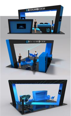 Inspired by openness of the bauhaus movement the structure is open with angle corners. Using the logo colors the stand design stands out. Exhibition Stand Design, Openness, Logo Color, Bauhaus, 3 D, Inspired, Colors, Creative, Inspiration