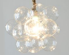 Gold Leaf Paint Glass Bubble Chandelier by KennethByrdDesign