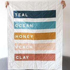 *for the color palette Stripe Quilt Minimal Home Decor Rainbow Quilt Modern Geometric Quilt, Geometric Wall Art, Colorful Wall Art, Colour Pallete, Colour Schemes, Modern Color Schemes, Modern Color Palette, Color Combos, Decoration Palette