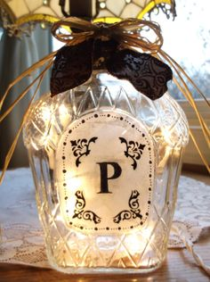 Monogram Wine Bottle Lamp by songbird58 on Etsy, $22.99
