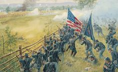 Gettysburg, PA, July 1863 – During the Confederate attack on the Union Center at Gettysburg, the Ohio Volunteer Infantry attacks the left flank of Davis' Brigade of Pettigrew/Trimble's… Military Art, Military History, Military Life, Pictures Of Soldiers, Gettysburg Battlefield, Civil War Art, America Civil War, Civil War Photos, Historical Art