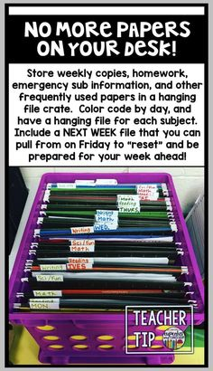Teacher Tip Get rid of the papers on your desk by using a hanging file crate! [Cupcakes & Curriculum] crate Cupcakes Curriculum Desk File hanging papers rid Teacher Tip is part of Classroom - Classroom Organisation, Teacher Organization, Teacher Hacks, Classroom Management, Classroom Ideas, Organizing, Organized Teacher Desk, Teacher Binder, Behavior Management