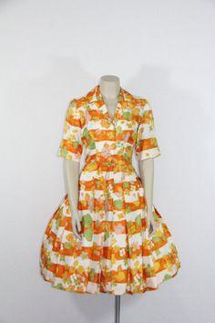 1950s Vintage Dress  Orange Floral and by VintageFrocksOfFancy, $80.00
