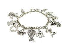 Angel Charm Bracelet, Angel Bracelet, Guardian Angel Bracelet, Religious Bracelet, Angel Jewelry, Gift Under 20, Angel Wings Bracelet