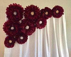 Giant burgundy paper flower backdrop for wedding decor, bridal showers, party decor and baby showers by MacaroniMinx on Etsy Bridal Shower Decorations, Flower Decorations, Wedding Decorations, Paper Daisy, Tissue Paper Flowers, Paper Flower Backdrop Wedding, Wedding Flowers, Daisy Background, Baby Showers