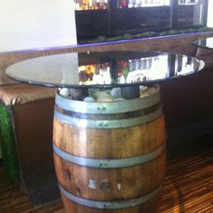 Wine barrel belly table