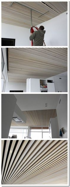 Possibilities are unlimited. Timber Ceiling, Wooden Ceilings, Floor Ceiling, Ceiling Grid, Acoustic Ceiling Panels, Acoustic Wall, Architecture Details, Interior Architecture, Acoustic Architecture