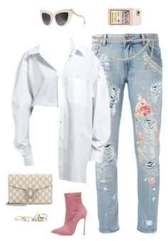 """""""Casual in Casadei"""" by styleswavington ❤ liked on Polyvore featuring Amen, Casadei, Gucci, Chanel, Anna-Karin Karlsson, GUESS, ootd and StephStyles508"""