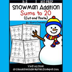 ~50% off 24 hrs~(until midnight 01/04/17) Snowman Addition Sums to 20 (Cut and Paste) -$