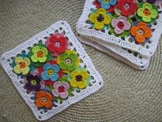Crochet coasters lace doilies table placemats , flower doilies, country house decor, set of 6 pcs - Crochet coasters lace doilies table placemats flower Crochet Motifs, Crochet Squares, Crochet Shawl, Crochet Stitches, Knitting Patterns, Crochet Patterns, Pull Crochet, Crochet Simple, Lace Doilies