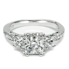 diamond engagement ring, Threestone Princess Cut Diamond Engagement ring from Tacori