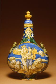 Pilgrim Flask with Mercury and Psyche, Urbino, Italy, Francesco Xanto Avelli (Italian, ca. 1487-ca. 1542), 1530 earthenware with tin glaze (maiolica), 36.5 x 22.4 cm The Walters Art Museum, 48.1373