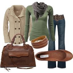 Green, Brown, Gray, Tan - I like this color combo for fall