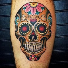 Home - Tattoo Spirit - Fraser 01 - Mexican Skull Tattoos, Sugar Skull Tattoos, Sugar Skull Art, Leg Tattoos, Body Art Tattoos, Sleeve Tattoos, Skull Candy Tattoo, Sugar Skulls, Home Tattoo