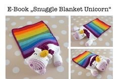 ...  a snuggle blanket (length approx. 27 cm) for the little ones, which is very attractive because of its rainbow colors ... in case of need you can add a little bell to the head so that the hearing will be trained... You need: –   yarn in size 3 (US C