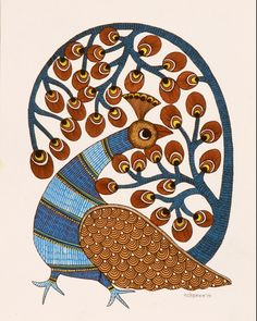 Gond Peacock folk painting from India Madhubani Paintings Peacock, Madhubani Art, Art And Illustration, Phad Painting, Hand Kunst, Kunst Der Aborigines, African Art Paintings, Folk Art Flowers, Indian Arts And Crafts