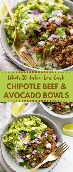 Chipotle Beef & Avocado Bowls These chipotle hamburger and avocado dishes are one of our most loved Mexican plans, stacked with veggies, protein, and solid fats. Whole Foods, Paleo Whole 30, Whole 30 Salads, Whole 30 Meals, Whole 30 Lunch, Clean Eating Recipes, Clean Eating Snacks, Healthy Eating, Paleo Recipes