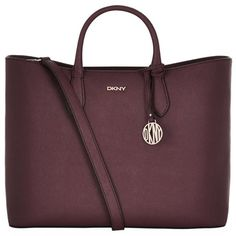 DKNY Bryant Park East West Top-Zip Tote ($345) ❤ liked on Polyvore featuring bags, handbags, tote bags, dkny, purple handbags, purple tote, dkny handbags and zip top tote bag