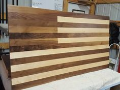 Walnut and Hard Maple American Flag made by by AtEaseDesignCompany