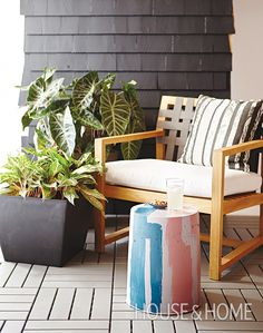 A little paint makes this concrete stool the perfect addition to this patio. Imagine how sweet it would look by the bath. Photographer: Angus Fergusson | Designer: Sarah Hartill