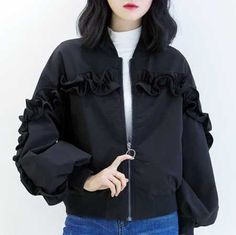 Plain black ruffle bomber jacket for women puff sleeves coat
