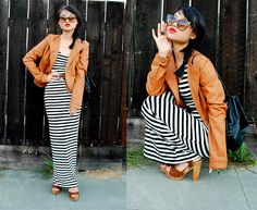 Cat Eyes & Neutral Stripes (by Natalie Liao) http://lookbook.nu/look/2478703-Cat-Eyes-Neutral-Stripes