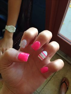 Pink acrylic striped nails