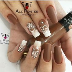 #nails #mandala Silver Nails, Red Nails, White Nails, Hair And Nails, Nail Swag, Uñas Color Cafe, Mandala Nails, Nail Designer, Nagel Gel