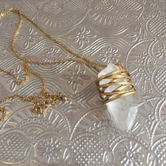 Urban Outfitters quartz necklace Beautiful necklace to pair with a maxi or boho top this spring and summer! Huge chunk of quartz.  Never worn. Urban Outfitters Jewelry Necklaces