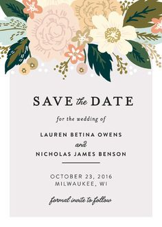 """Classic Floral"" - Rustic, Whimsical & Funny Save The Date Cards in Spring Blush by Alethea and Ruth."