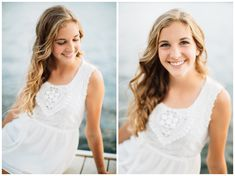 Portland senior photo locations: on the edge of the water at a dock on the Eastbank Esplanade near OMSI. Photo by Portland senior photographer Katy Weaver Senior Portraits, Senior Pictures, Photo Location, Flower Photos, Photo Shoots, Portland, Portrait Photography, White Dress, Birthday