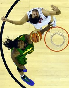 Serbia's guard Milos Teodosic vies with Brazil's centre Nene Hilario during the 2014 FIBA World basketball championships group A match at the Palacio Municipal de Deportes in Granada. Basketball Equipment, Buy Basketball, Baseball Tips, Baseball Cards, Sports Action Photography, Basketball Highlights, Hilario, Just A Game, The Outfield