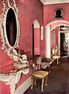 The foyer of Maugham's Park Lane residence, her final home in London before the designer relocated to Paris and the United States.