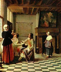 Pieter de Hooch...a Dutch Interior...graphic floor....great chiaroscuro.