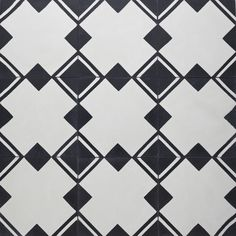 Bathroom floor tile - like the idea of some black and white cool intricate pattern on the floor with everything else simplified....SABINE HILL I can get at Chesapeake Tile