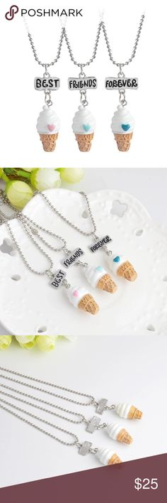 Cute ice cream Set of 3pcs This is really cute!! Set of 3 pcs, one best, one friends and one forever necklace. Silver chain. Valentine's day gift ! Jewelry Necklaces